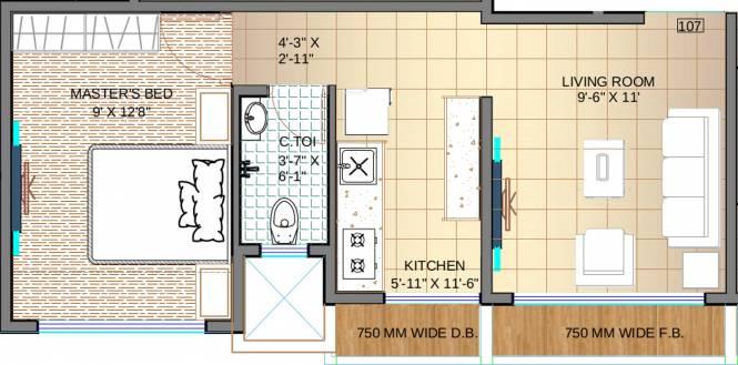 Jet Samarth Residency (1BHK+1T (480 sq ft) Apartment 480 sq ft)