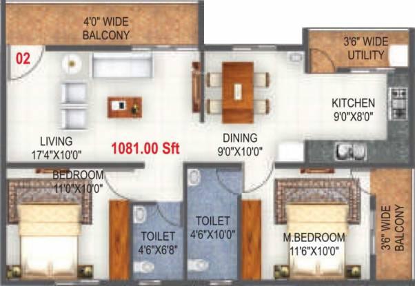 SLV Lavender (2BHK+2T (1,081 sq ft) Apartment 1081 sq ft)