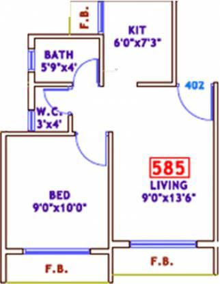 Gurukrupa Residency (1BHK+1T (390 sq ft) Apartment 390 sq ft)