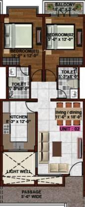 Bhavya Harmony (2BHK+2T (1,100 sq ft) Apartment 1100 sq ft)
