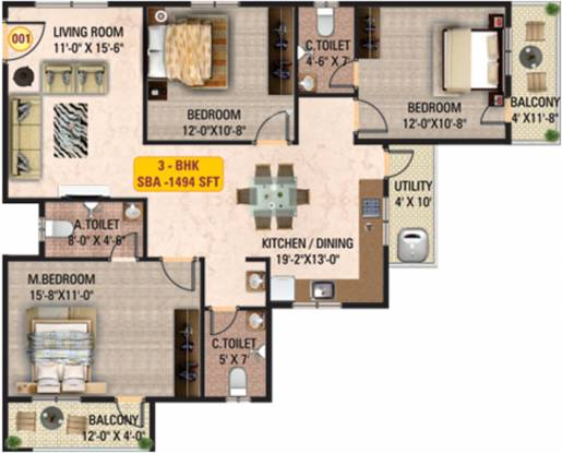 Mitra Solitaire (3BHK+3T (1,494 sq ft) Apartment 1494 sq ft)