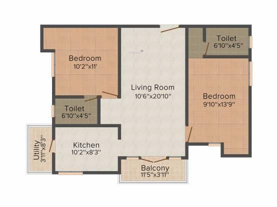 VME Asta (2BHK+2T (950 sq ft) Apartment 950 sq ft)