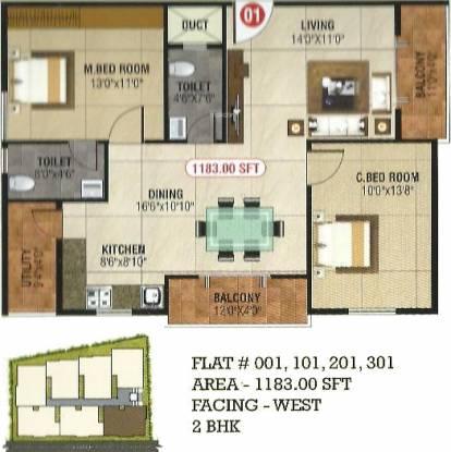 Saranya Silver Stone (2BHK+2T (1,183 sq ft) Apartment 1183 sq ft)