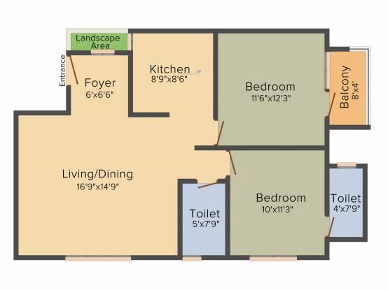 Honeycomb Silver Cloud (2BHK+2T (1,038 sq ft) Apartment 1038 sq ft)