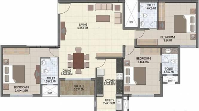 Prestige Silver Dale (3BHK+3T (2,500 sq ft) Apartment 2500 sq ft)