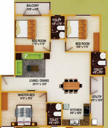 DS DSMAX SAVERA (3BHK+3T (1,514 sq ft) Apartment 1514 sq ft)