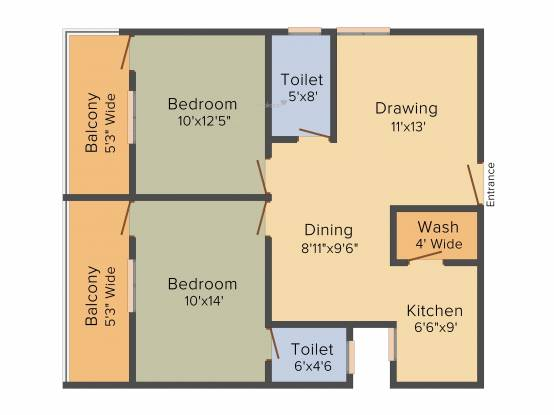 Sree Mahaveer Srinivasa Sunridge (2BHK+2T (1,130 sq ft) Apartment 1130 sq ft)