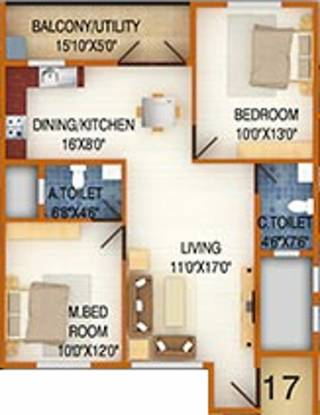 DS DSMAX SILVER WOOD (2BHK+2T (1,015 sq ft) Apartment 1015 sq ft)