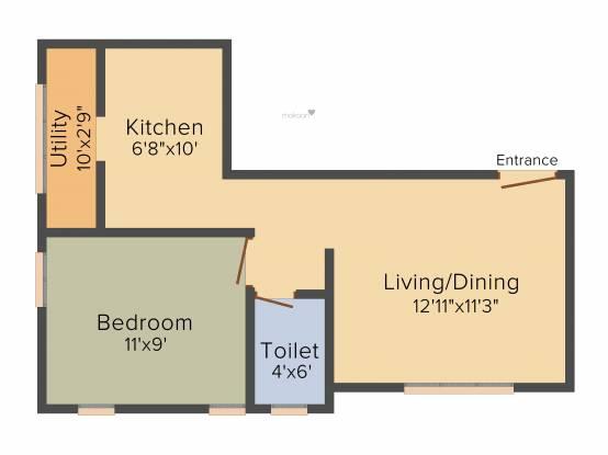 VSV Angela (1BHK+1T (578 sq ft) Apartment 578 sq ft)