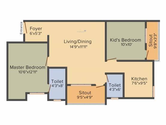 VSV Angela (2BHK+2T (827 sq ft) Apartment 827 sq ft)