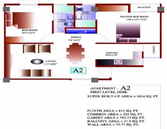 Az Symphony (2BHK+2T (1,014 sq ft) Apartment 1014 sq ft)