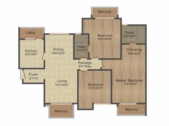 ATS Le Grandiose (3BHK+2T (1,625 sq ft) Apartment 1625 sq ft)