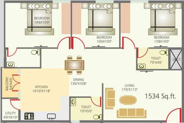 Sriven Rag Serenity (3BHK+3T (1,534 sq ft) Apartment 1534 sq ft)