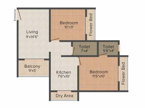 Mohak (2BHK+2T (840 sq ft) Apartment 840 sq ft)