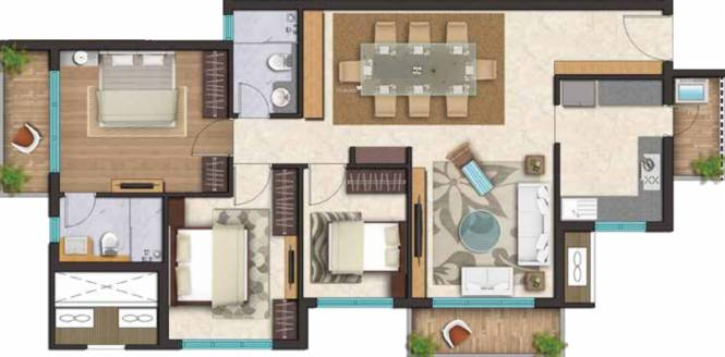 Ozone Metrozone (2BHK+2T (1,435 sq ft) + Study Room Apartment 1435 sq ft)
