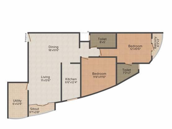 Hoysala Corpus (2BHK+2T (1,260 sq ft) Apartment 1260 sq ft)