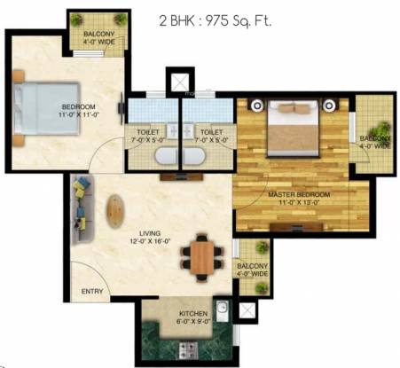 Neo Capital Residency (2BHK+2T (975 sq ft) Apartment 975 sq ft)