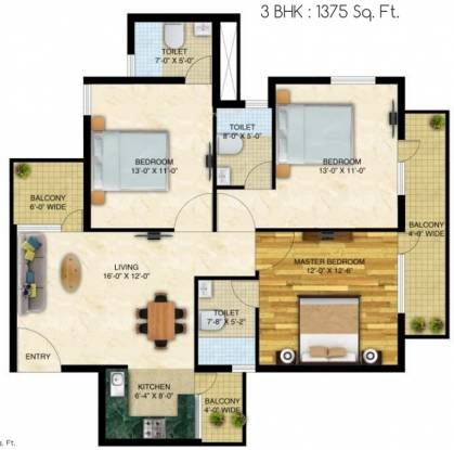 Neo Capital Residency (3BHK+3T (1,375 sq ft) Apartment 1375 sq ft)