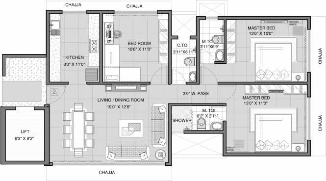 Samyakth BIiss (3BHK+3T (975 sq ft) Apartment 975 sq ft)