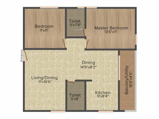 Kumari Woods And Winds (2BHK+2T (1,170 sq ft) Apartment 1170 sq ft)