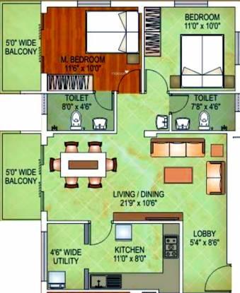 Divakar Diya Residency (2BHK+2T (1,090 sq ft) Apartment 1090 sq ft)