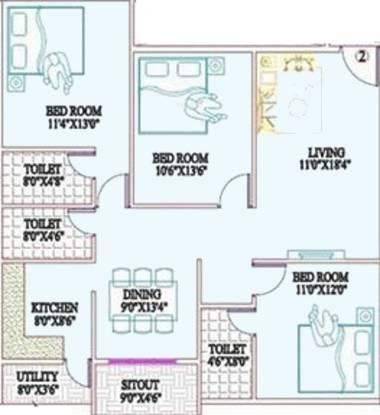 SVP Sunrise (3BHK+3T (1,370 sq ft) Apartment 1370 sq ft)