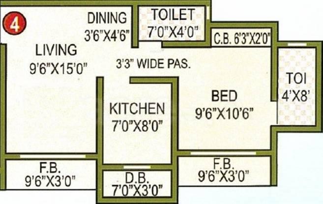 Gaurav Sai Charan Residency (1BHK+1T (760 sq ft) Apartment 760 sq ft)
