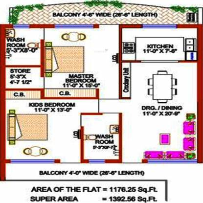Trishla Plus Homes (2BHK+2T (1,392 sq ft) Apartment 1392 sq ft)