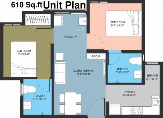 Arun Manjari (2BHK+2T (610 sq ft) Apartment 610 sq ft)