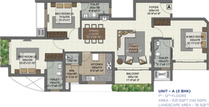 Malabar Royal Pine (3BHK+3T (1,600 sq ft) Apartment 1600 sq ft)