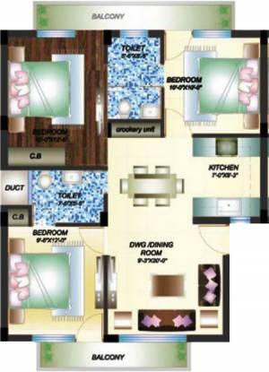 Primary Arcadia Green Homes (3BHK+2T (1,350 sq ft) Apartment 1350 sq ft)