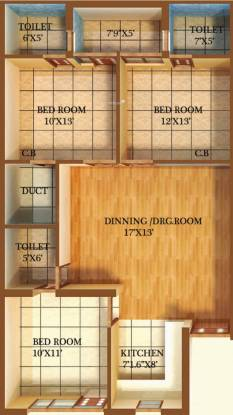 Primary Arcadia Green Home II (3BHK+3T (1,350 sq ft) Apartment 1350 sq ft)