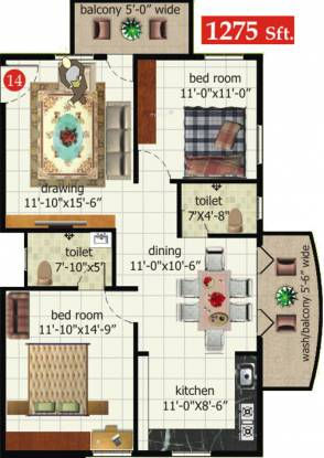Srivathsa Mayfair Anthem (2BHK+2T (1,275 sq ft) Apartment 1275 sq ft)