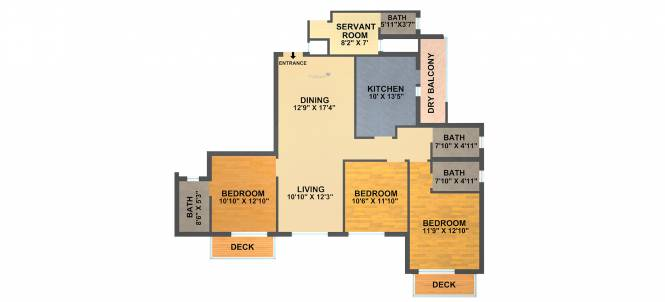 DLF New Town Heights (3BHK+3T (2,100 sq ft) Apartment 2100 sq ft)