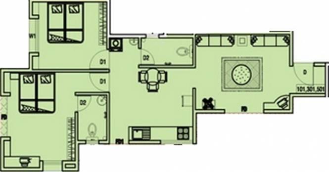 Aarav Castles (2BHK+2T (1,208 sq ft) Apartment 1208 sq ft)