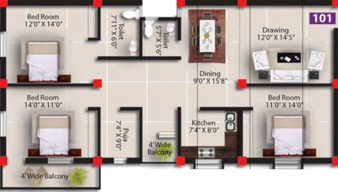 Satyabadi Residency (3BHK+2T (1,701 sq ft) + Pooja Room Apartment 1701 sq ft)