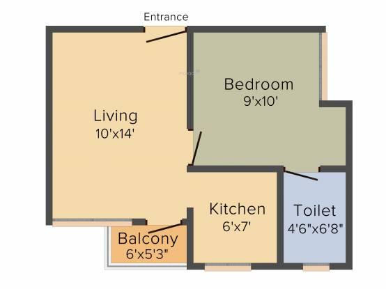 Artha Midas at Neo Smart City (1BHK+1T (509 sq ft)   Study Room Apartment 509 sq ft)