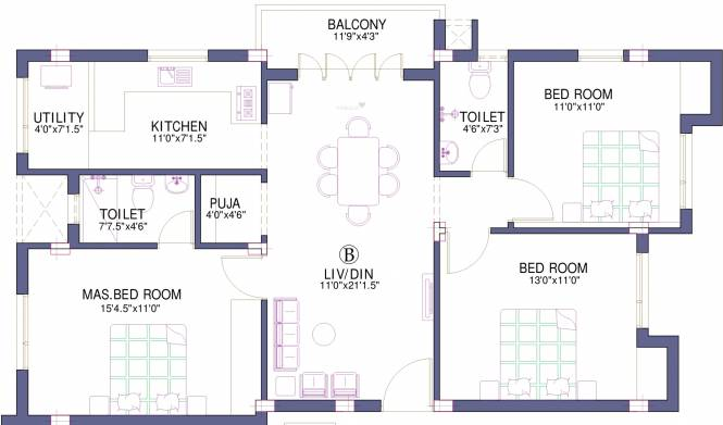 Firm Kalyan (3BHK+2T (1,275 sq ft)   Pooja Room Apartment 1275 sq ft)
