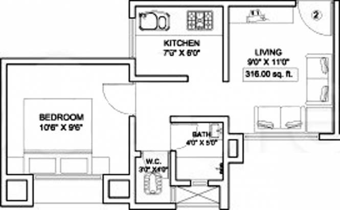 Squarefeet Grand Square (1BHK+1T (316 sq ft) Apartment 316 sq ft)