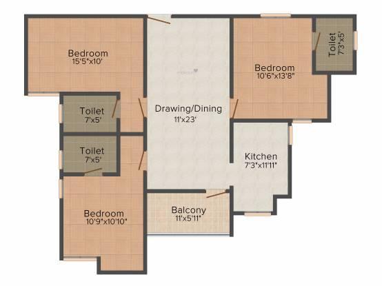 Aashish Acacia (3BHK+3T (1,401 sq ft) Apartment 1401 sq ft)