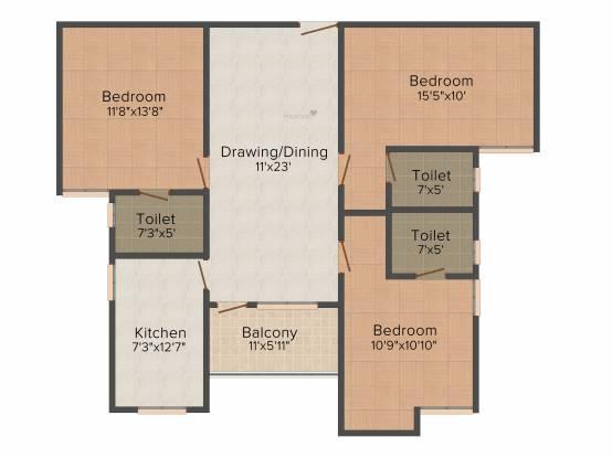 Aashish Acacia (3BHK+3T (1,417 sq ft) Apartment 1417 sq ft)