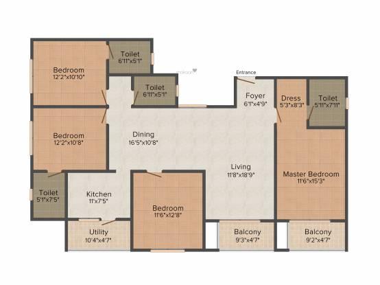 Omaxe Wisteria (4BHK+3T (2,050 sq ft) + Servant Room Apartment 2050 sq ft)