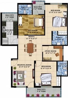 E Square Palash (3BHK+3T (1,521 sq ft) Apartment 1521 sq ft)