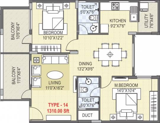 SLV Flora (2BHK+2T (1,310 sq ft) Apartment 1310 sq ft)