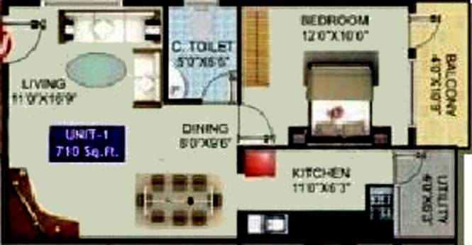 Shiva RR Smart Homes (1BHK+1T (710 sq ft) Apartment 710 sq ft)