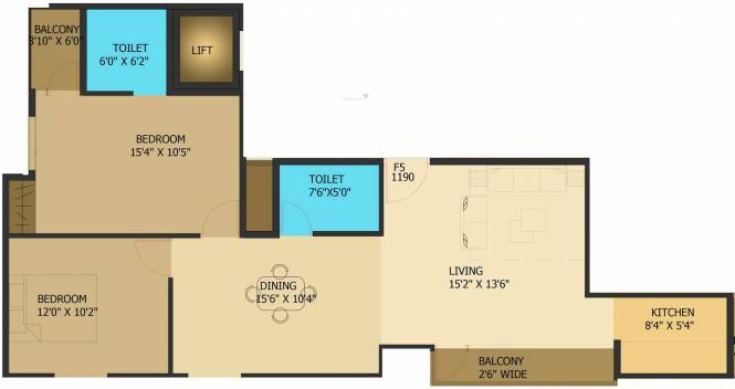 Surath Suraj Residency (2BHK+2T (1,190 sq ft) Apartment 1190 sq ft)