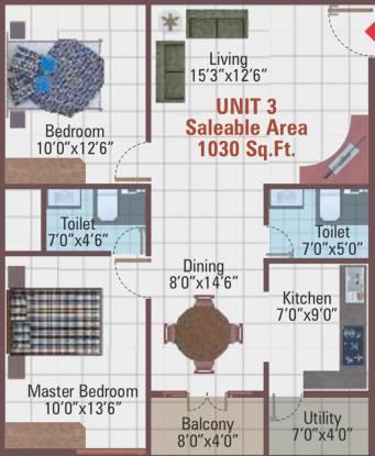 5 Elements Temple Bells Premier (2BHK+2T (1,030 sq ft) Apartment 1030 sq ft)