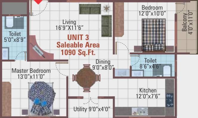 5 Elements Temple Bells Premier (2BHK+2T (1,090 sq ft) Apartment 1090 sq ft)