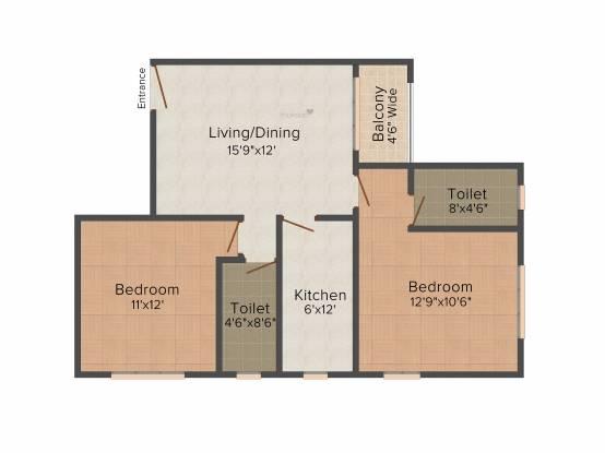 Verdant Tulip (2BHK+2T (1,022 sq ft) Apartment 1022 sq ft)