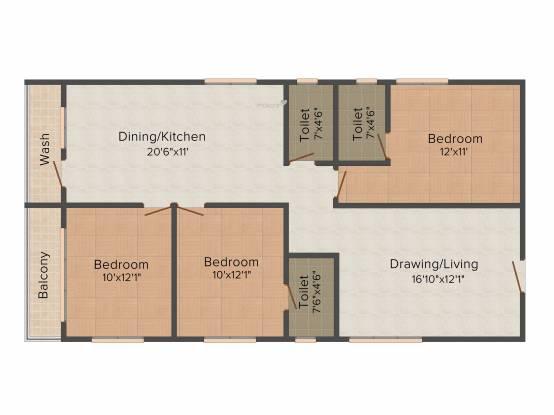 Vaishnavi Pride (3BHK+3T (1,476 sq ft) Apartment 1476 sq ft)